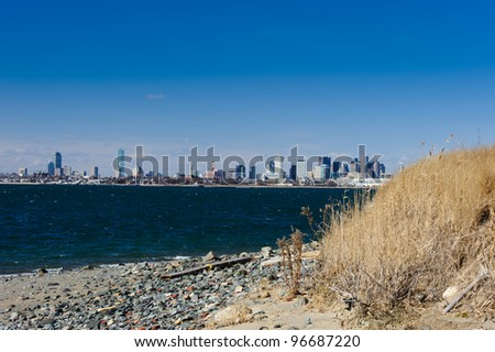 Boston from Spectacle Island in Horizontal - stock photo