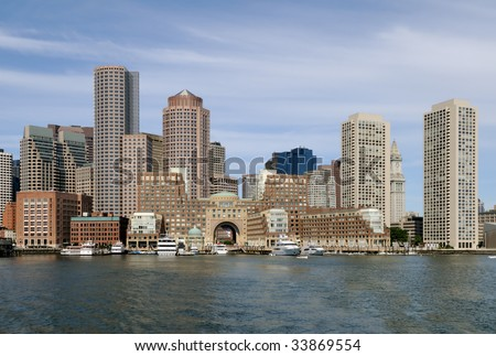 Boston harbor and cityscape. Skyline of downtown district office and apartment buildings on the waterfront.