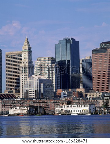 Boston Harbor and downtown, MA - stock photo
