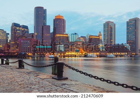 Boston Harbor and Financial District at sunset. Boston- Massachusetts, USA