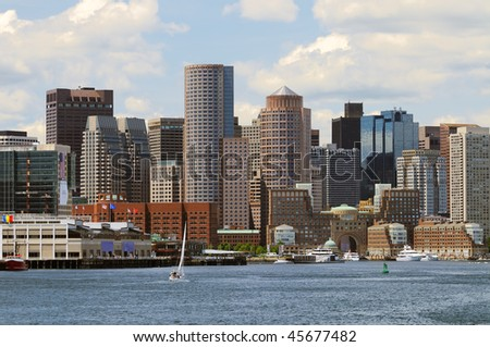 Boston Harbor and Skyline - stock photo