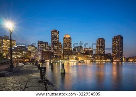 Boston harbor and waterfront - stock photo