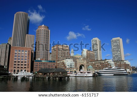 Boston Harbor including Rowes Wharf. - stock photo