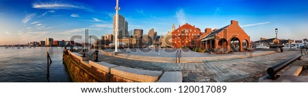 Boston Harbor panorama on a sunny summer morning, from the Harbor Walk on Long Wharf - stock photo