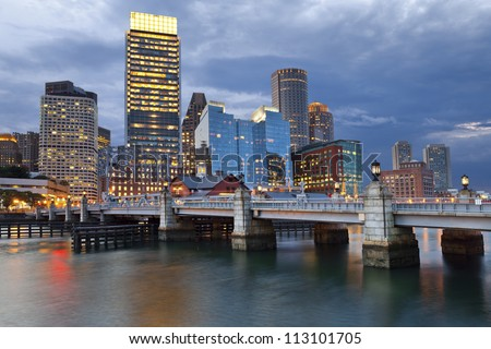 Boston. Image of Boston city skyline at twilight.