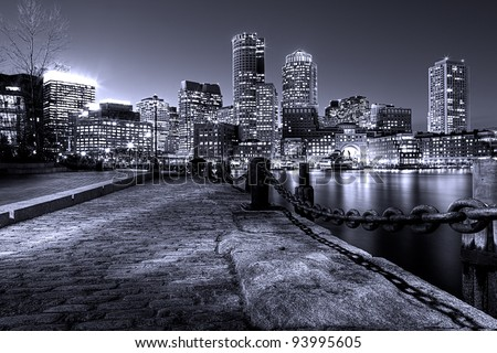 Boston in Massachusetts at Night. - stock photo