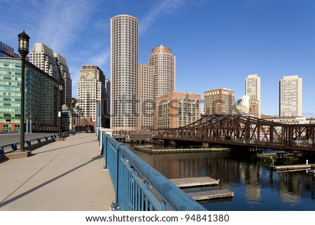 Boston in Massachusetts, USA with its financial district and historic site.