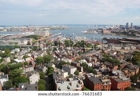 Boston Inner Harbor. Boston waterfront skyline and Logan International Airport, viewed from Bunker Hill Monument, Charlestown, Massachusetts - stock photo