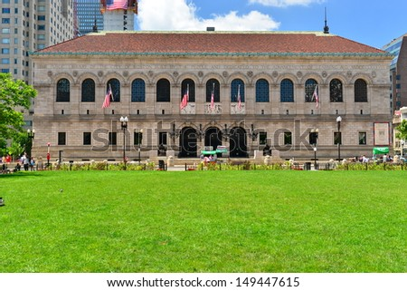 BOSTON - JULY 4:The Boston Public Library (est.1848) in Boston, Massachusetts, USA on july 4th, 2013. It was the first publicly supported municipal library in the USA. It contains 8.9 million books. - stock photo