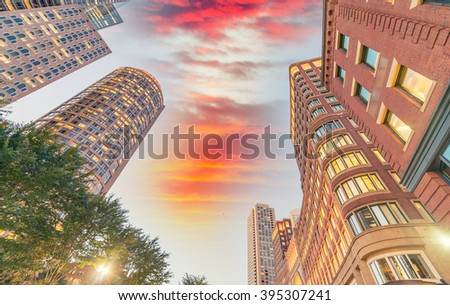Boston, MA. Beautiful city skyline at dusk. - stock photo