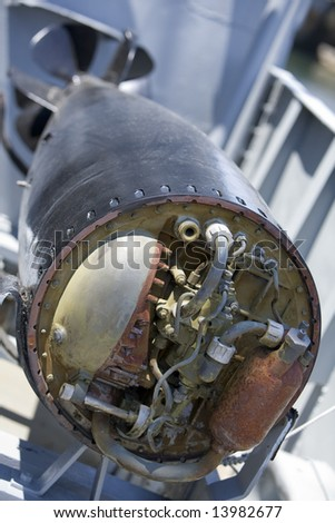 Boston, MA 2008:  Detail shots of the USS Cassin Young, a retired US Naval Fletcher-class destroyer. - stock photo