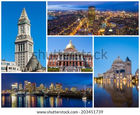 Boston MA famous landmarks picture collage  - stock photo