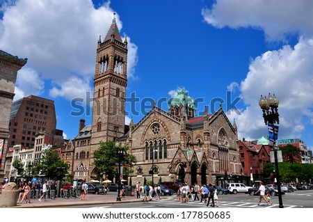 BOSTON, MA - JULY 14, 2013: Old South Church built in neo-Romanesque style dominates the north side of Copley Square on Boylston Street * - stock photo