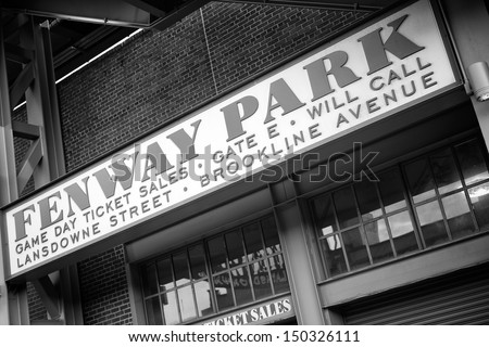 BOSTON, MA - JULY 20: The Fenway Park Stadium in Boston, MA, home of the Red Sox  team, is the oldest baseball stadium still in use in the USA built in 1912 as seen on July 20, 2013. - stock photo