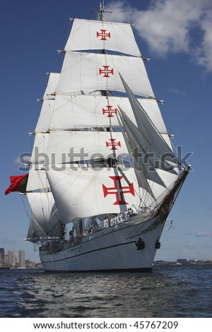 Boston, Ma - Portugal's Tall Ship Sagres leaves Boston Harbor during Sail Boston 2009 July 13, 2009 - stock photo