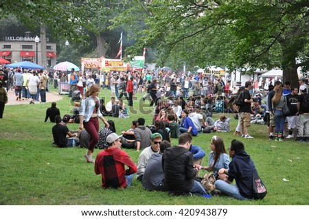 BOSTON, MA - SEP 13: The Boston Freedom Rally, as seen on Sep 13, 2014. It is a peaceful protest as goers practice civil disobedience consuming Cannabis in support of its freedom and acceptance.
