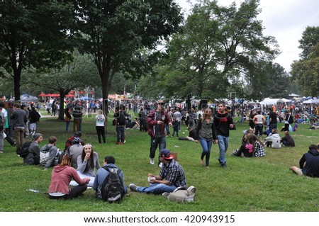 BOSTON, MA - SEP 13: The Boston Freedom Rally, as seen on Sep 13, 2014. It is a peaceful protest as goers practice civil disobedience consuming Cannabis in support of its freedom and acceptance.  - stock photo