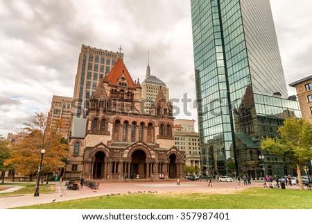 Boston, MA. Skyline on a autumn day. - stock photo