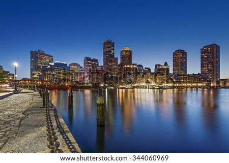 Boston, MA, USA - August 1st, 2015. The Skyline of Boston after the sunset.