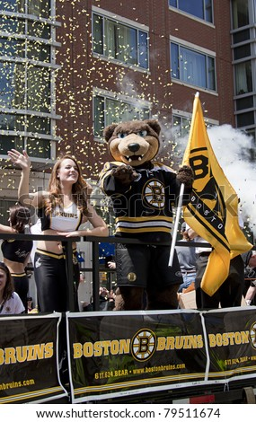 BOSTON, MA, USA - JUNE 18: The Boston Bruins parade through Boston after winning the Stanley cup for the first time in 39 years, June 18 2011 in Boston, MA, United States - stock photo