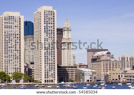 Boston Marine from the sea - stock photo