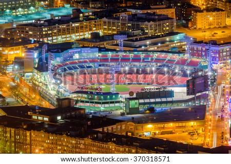 BOSTON, MASSACHUSETTS - APRIL 3, 2012: Fenway Park at night. Opened in 1912, the home of the Red Sox is the oldest MLB stadium still in use. - stock photo