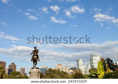 Boston Massachusetts George Washington statue located in the Public Garden - stock photo