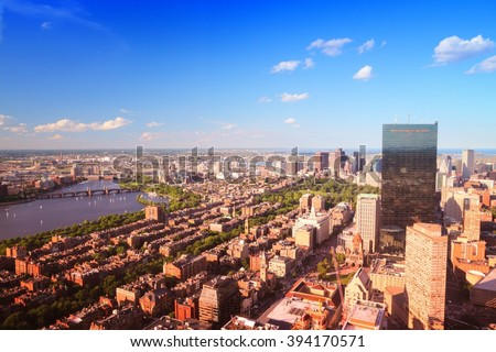 Boston, Massachusetts in the United States. City skyline aerial view. - stock photo