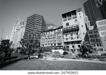 Boston, Massachusetts in the United States. City skyline. Black and white tone - retro monochrome color style. - stock photo