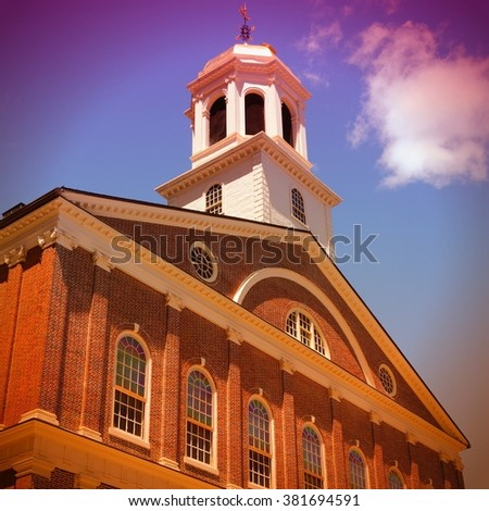 Boston, Massachusetts in the United States. Faneuil Hall - famous landmark on Boston Freedom Trail. Retro filtered color style. - stock photo