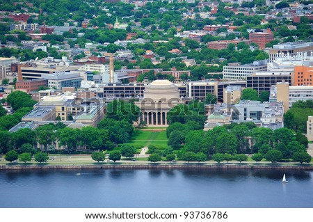 Boston Massachusetts Institute of Technology campus with trees and lawn aerial view with Charles River - stock photo