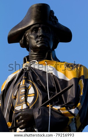 BOSTON, MASSACHUSETTS: JUNE 14: George Washington Monument dressed in the Bruins Uniform to incentive fans for the 2011 season of rockey in Boston on June 14, 2011