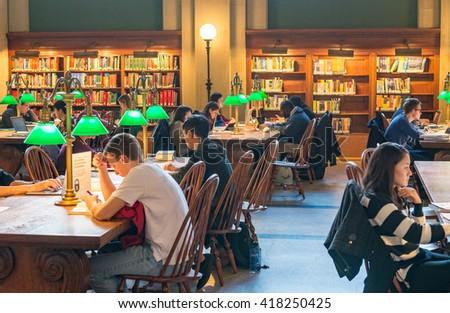 BOSTON, MASSACHUSETTS - OCT 18: Bates Hall in the Boston Public Library on October 18, 2015 in Boston, Massachusetts. - stock photo