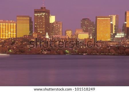 Boston Massachusetts skyline at sunset from Charles River