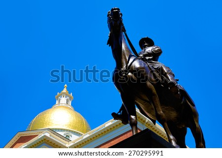 Boston Massachusetts State House and Hooker monument in USA - stock photo