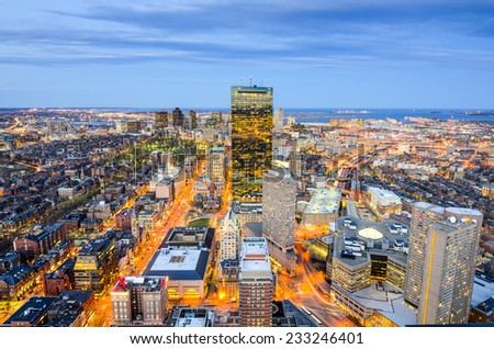 Boston, Massachusetts, USA aerial view of the downtown cityscape. - stock photo