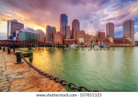 Boston, Massachusetts, USA downtown skyline. - stock photo