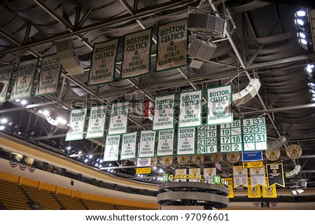 BOSTON -  MAY 23: Boston Celtics championship banners hanging up in the TD Garden on May 23, 2011 in Boston.  The TD Garden is home to the Boston Celtics and Boston Bruins. - stock photo