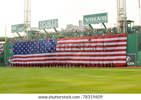 Boston - May 30: Memorial Day festivities before the Red Sox game against the Chicago White Sox at Fenway Park on May 30, 2011 in Boston, Massachusetts. - stock photo