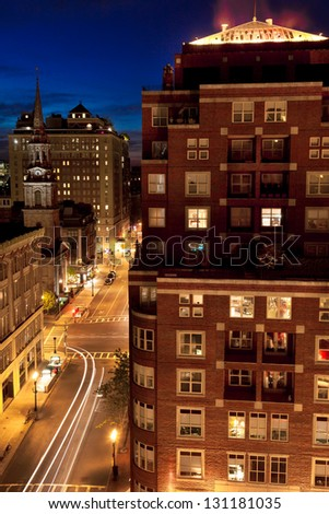 BOSTON-MAY 5: Night shot of the Back Bay neighborhood in the heart of old Boston, considered one of the best-preserved examples of 19th-century urban design in America, in Boston, MA on May 5, 2012. - stock photo