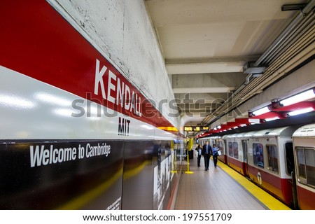 BOSTON- MAY 20: The T subway red line station in Boston on May 20, 2014. The T  was formed in 1964