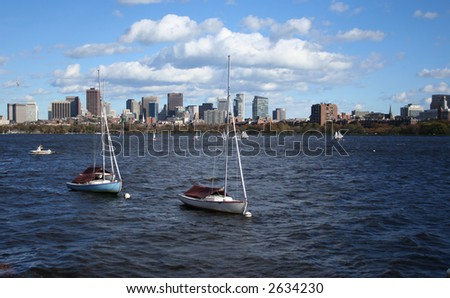 Boston moored in Charles River and Boston Skyline - stock photo