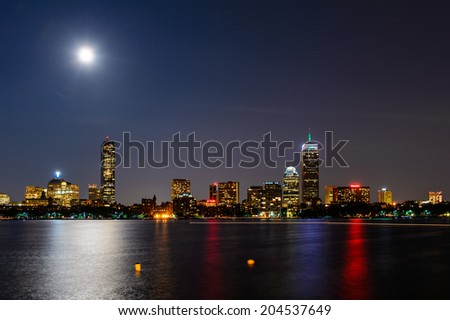 Boston nightly skyline panorama, Massachusetts, USA - stock photo