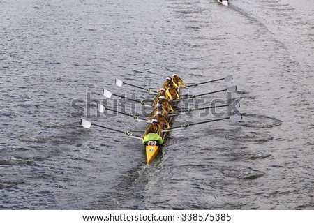 BOSTON - OCTOBER 18, 2015: Ann Arbor Huron races in the Head of Charles Regatta Women's Youth Eights [PUBLIC RACE] - stock photo