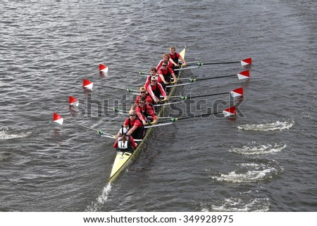 BOSTON - OCTOBER 18, 2015: Boston University races in the Head of Charles Regatta men's Master Eights [PUBLIC RACE]