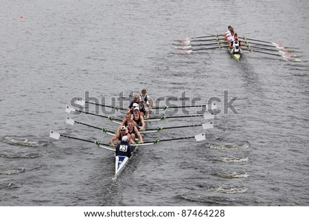 BOSTON - OCTOBER 23: Brock Rowing races in the Head of Charles Regatta, Harvard University won with a with a time of 14:17 on October 23, 2011 in Boston, MA. - stock photo