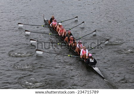 BOSTON - OCTOBER 19, 2014: Brown University races in the Head of Charles Regatta Women's Championship Eights - stock photo