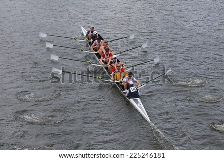 BOSTON - OCTOBER 19, 2014: California University races in the Head of Charles Regatta Men's Championship Eights, Craftsbury Sculling Center won with a time of 14:20 - stock photo