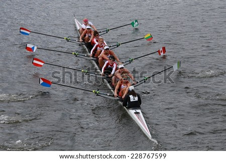 BOSTON - OCTOBER 19, 2014: Cambridge Rowing races in the Head of Charles Regatta Women's Championship Eights