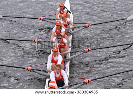 BOSTON - OCTOBER 18, 2015: Clemson races in the Head of Charles Regatta Women's Master Eights [PUBLIC RACE]